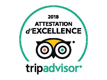 Attestation d'excellence 2018 tripadvisor